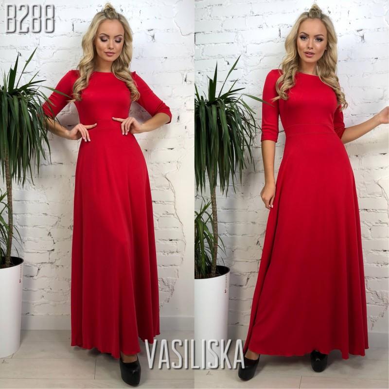 61c2d010249d9a7 Платье в пол рукава 3/4 трикотаж красный