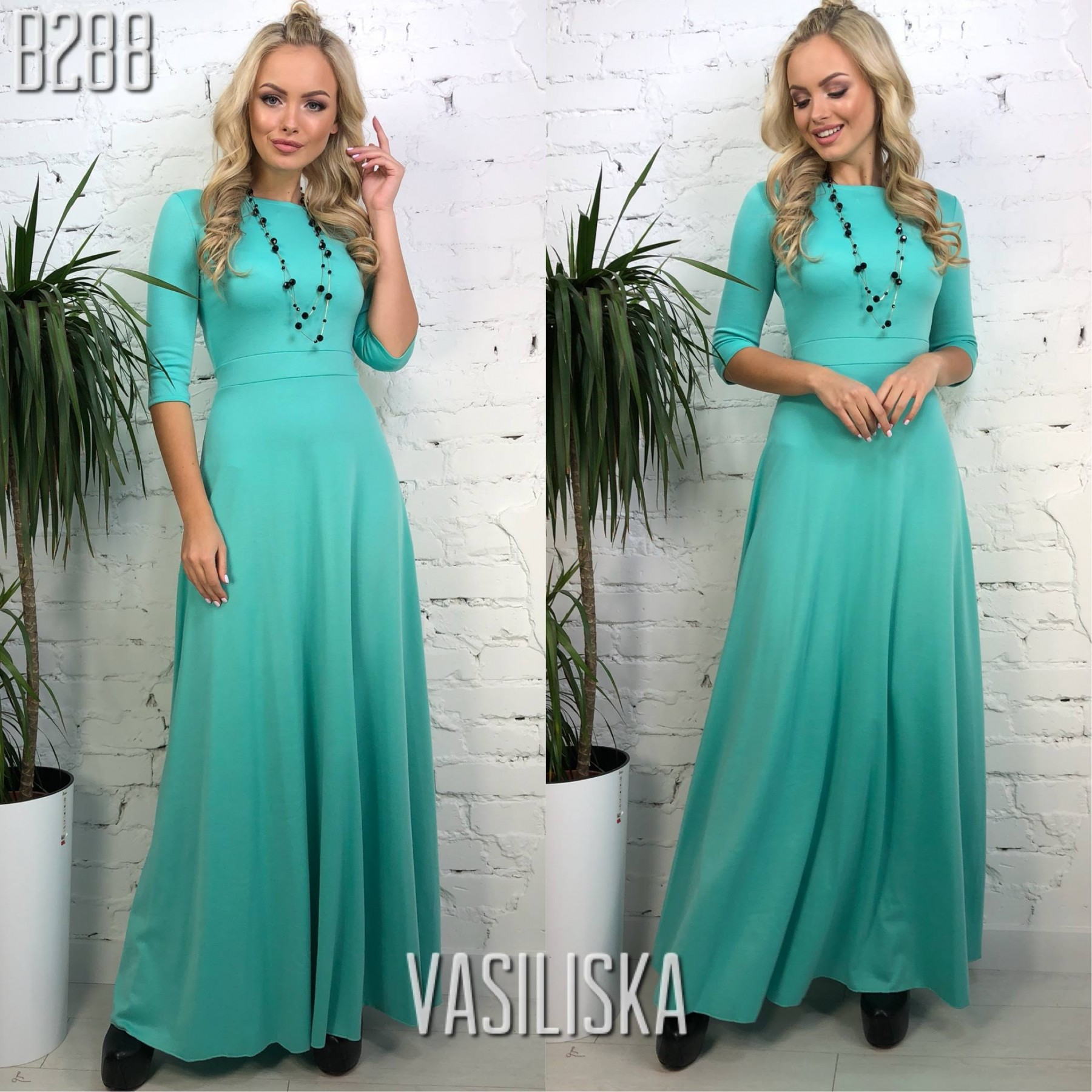 d750b66fac97b7f Платье в пол рукава 3/4 трикотаж мятный