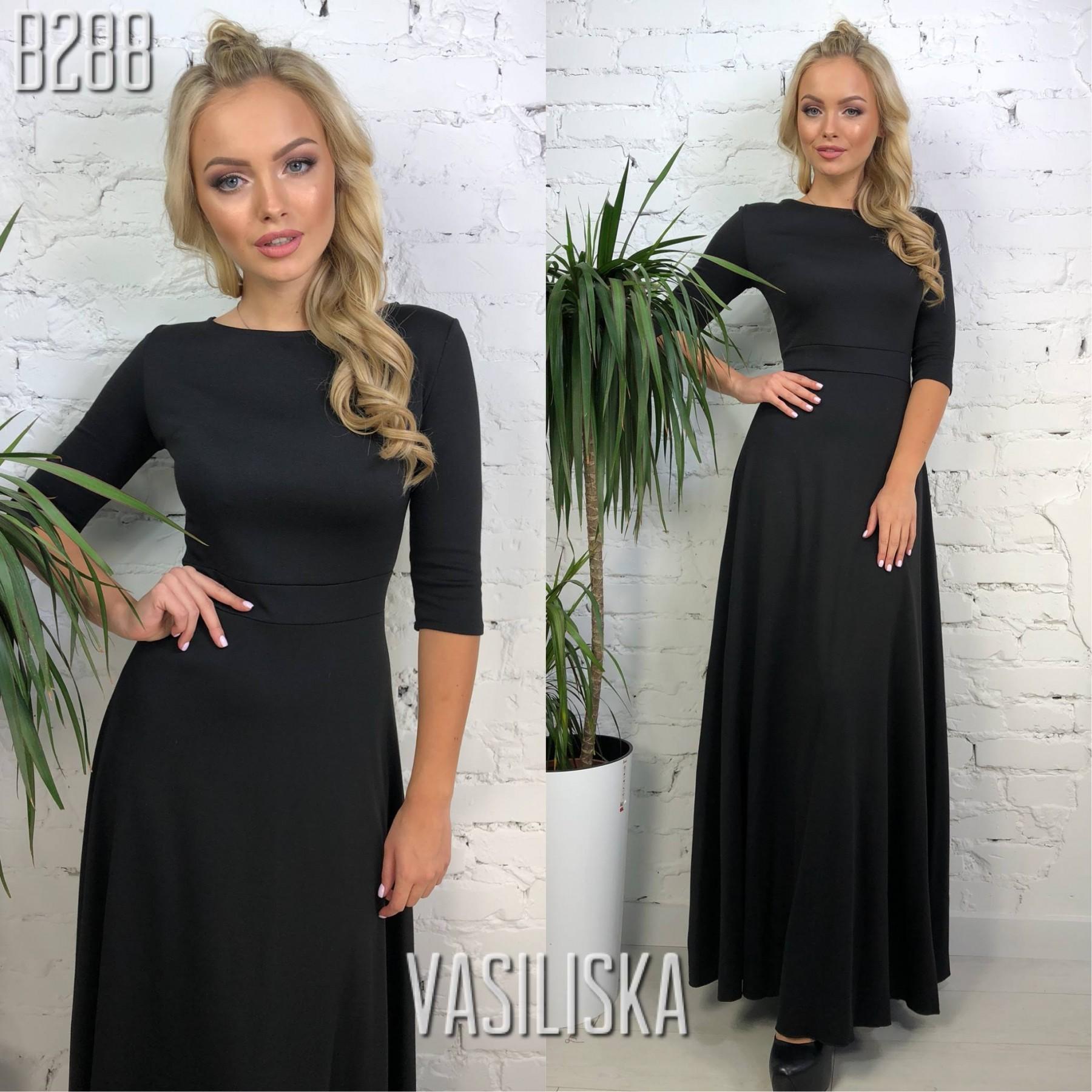 5df8e4e174f937d Платье в пол рукава 3/4 трикотаж черный