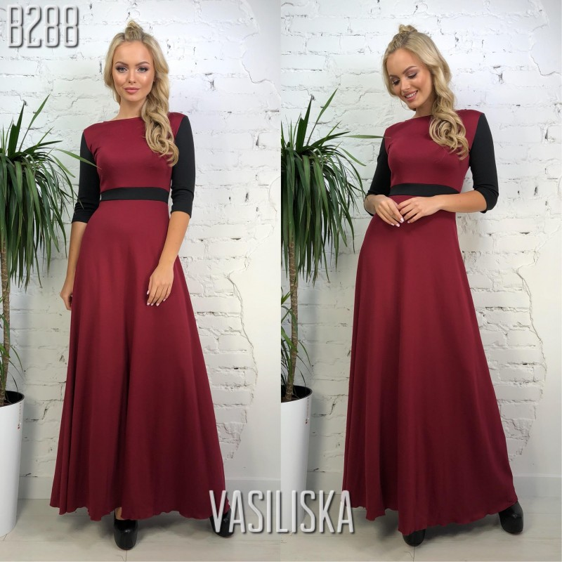 0a29d784b945056 Платье в пол рукава 3/4 трикотаж марсала с черным