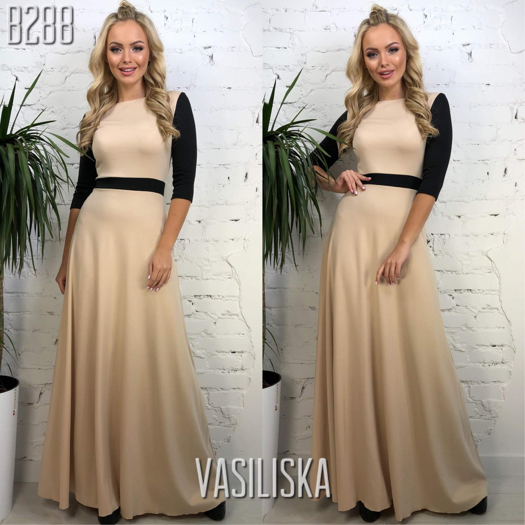 d1c2fa69b2d7067 Платье в пол рукава 3/4 трикотаж беж с черным