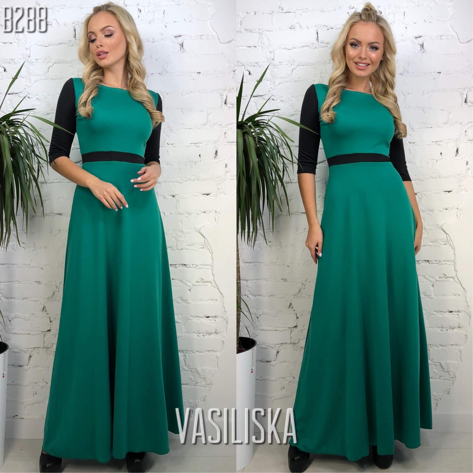 bde77076c9b67f4 Платье в пол рукава 3/4 трикотаж изумрудный с черным