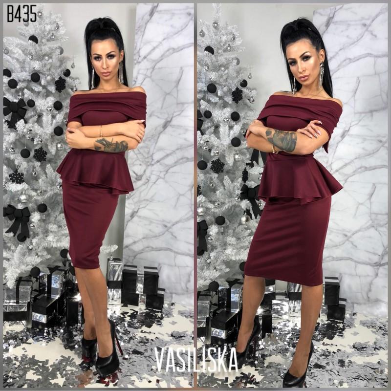 Платье с баской цвета сливы