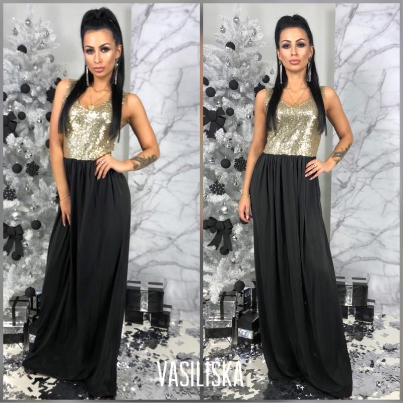 Вечернее черное платье с пайетками золото