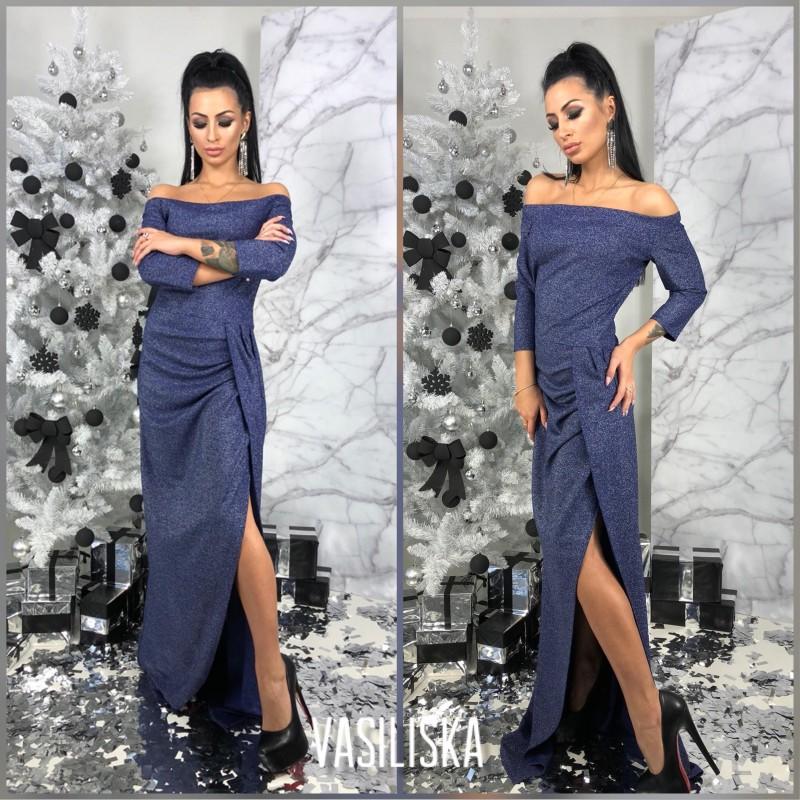 Платье с разрезом открытые плечи рукава 3/4 люрекс синий