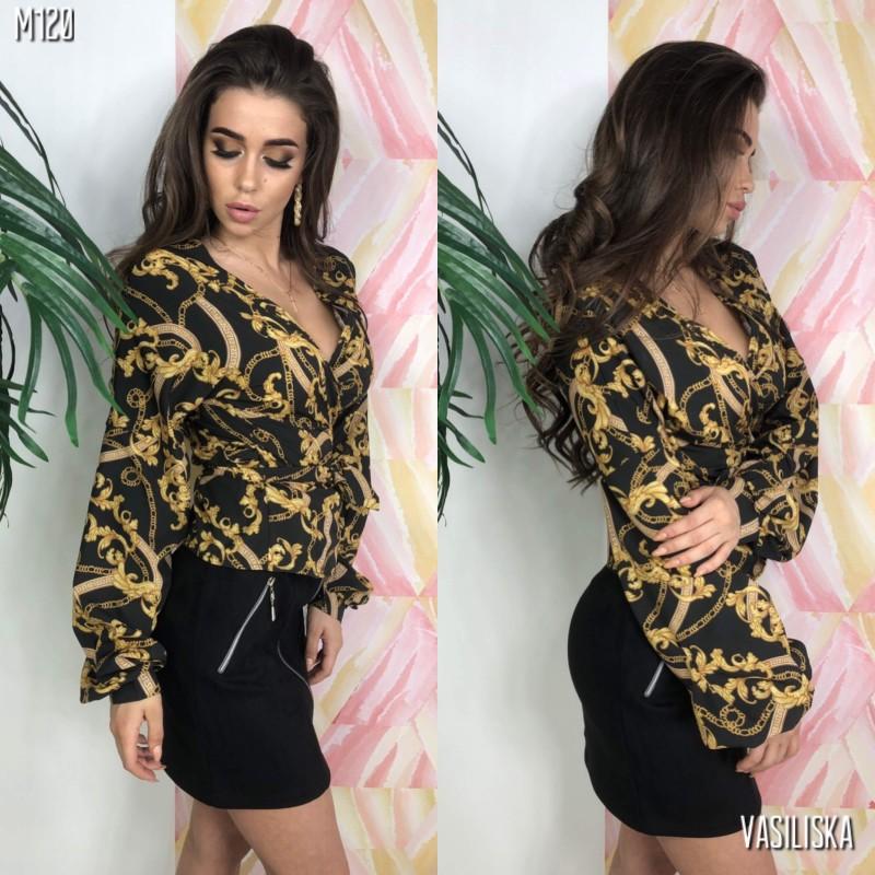 Блуза на запах с поясом принт золотые цепи