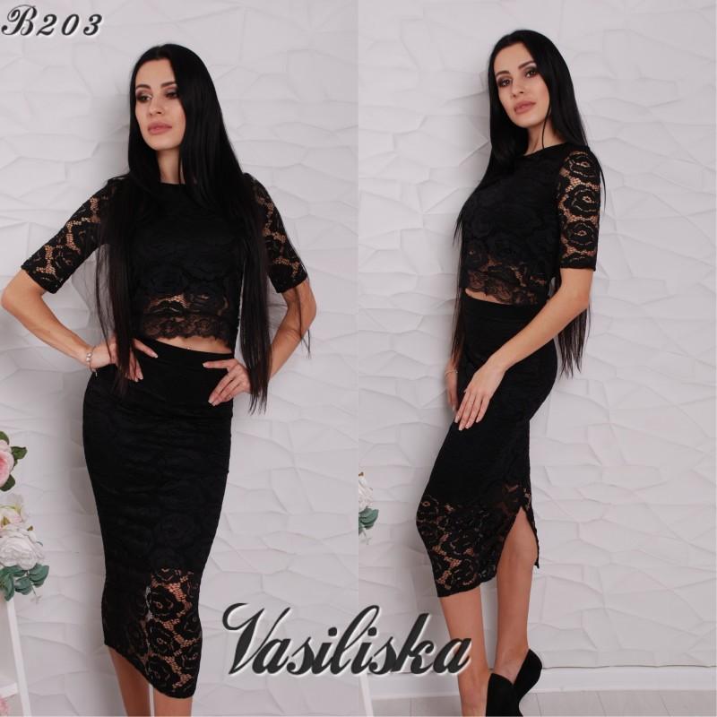 Комплект вечерний юбка карандаш + топ гипюр черный