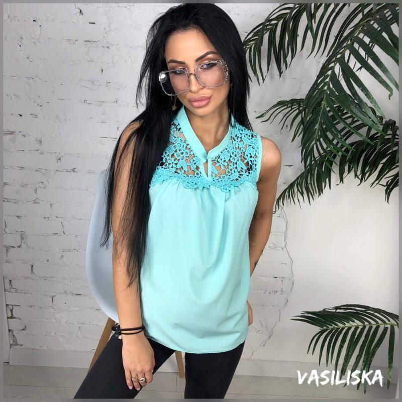 Блуза софт + макраме мята
