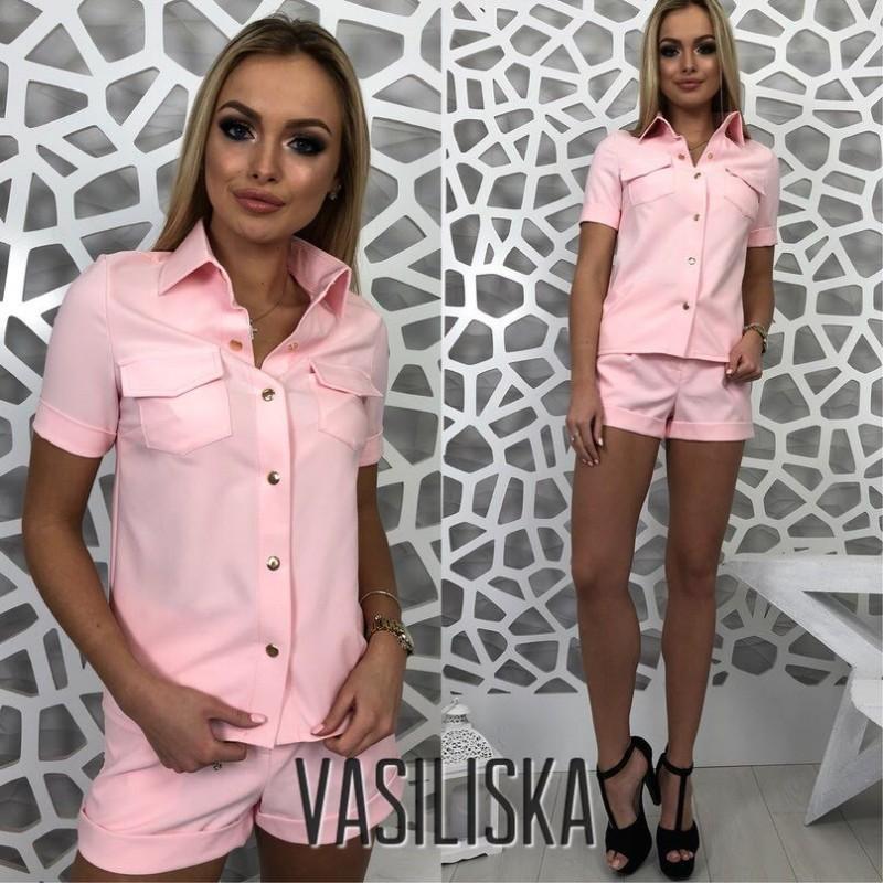 Костюм рубашка на кнопках с коротким рукавом + шорты розовый