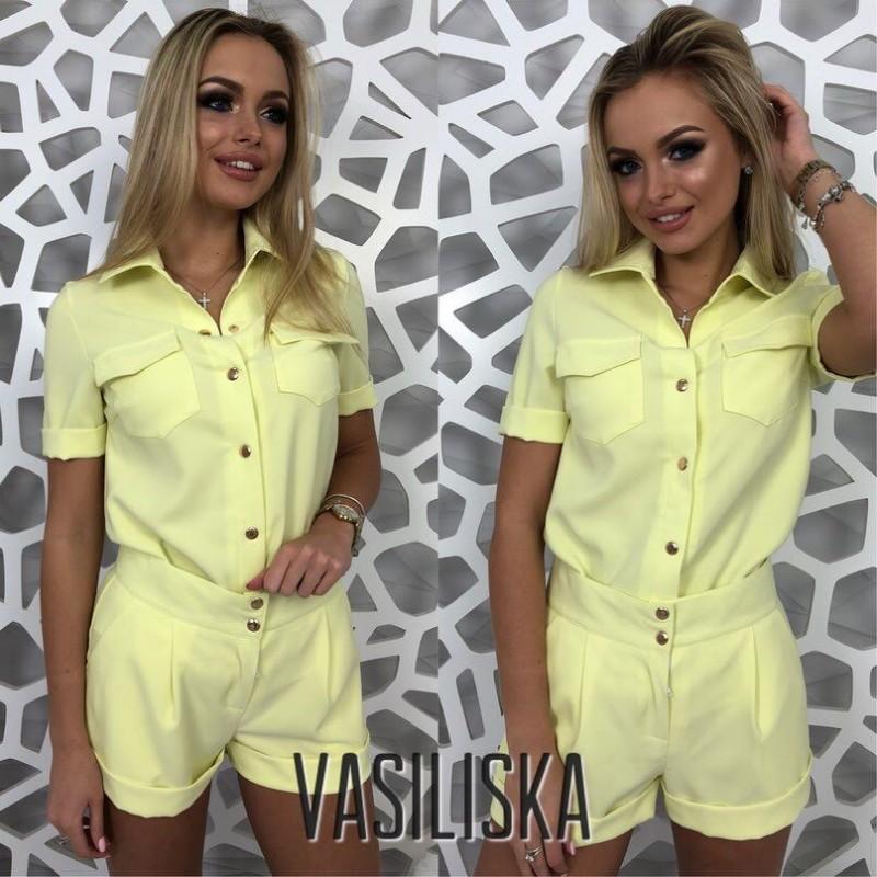 Костюм рубашка на кнопках с коротким рукавом + шорты желтый