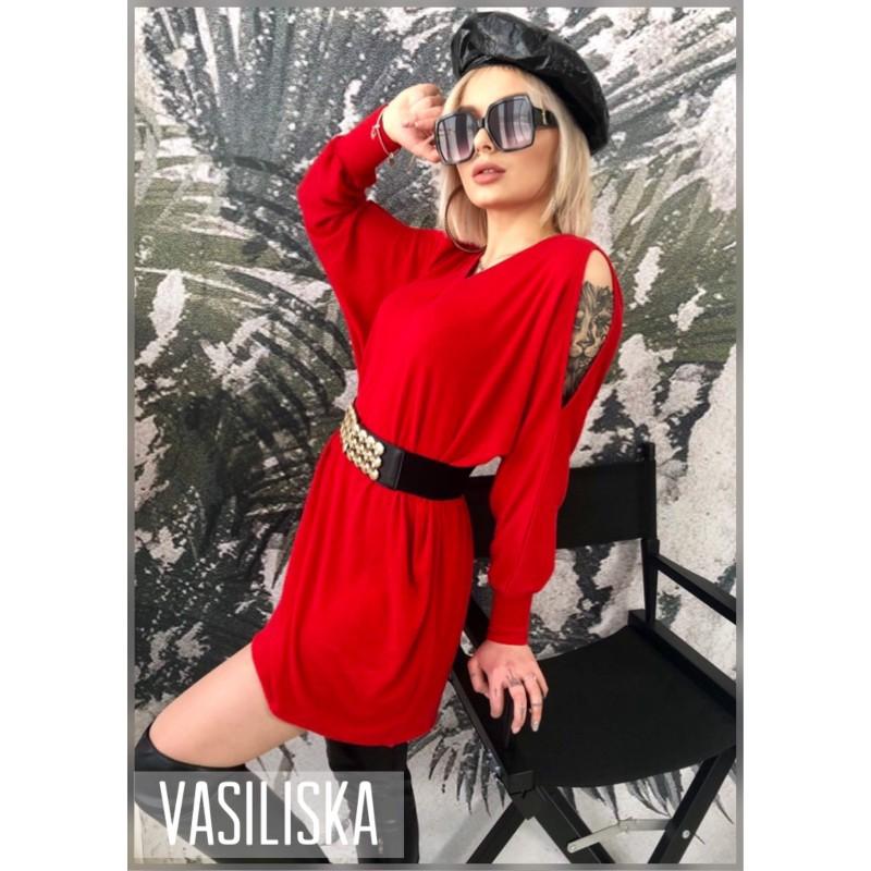 Платье-туника рукава разрезы красный