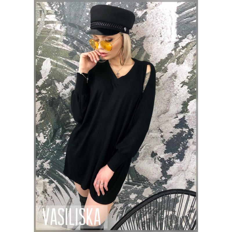 Платье-туника рукава разрезы черный