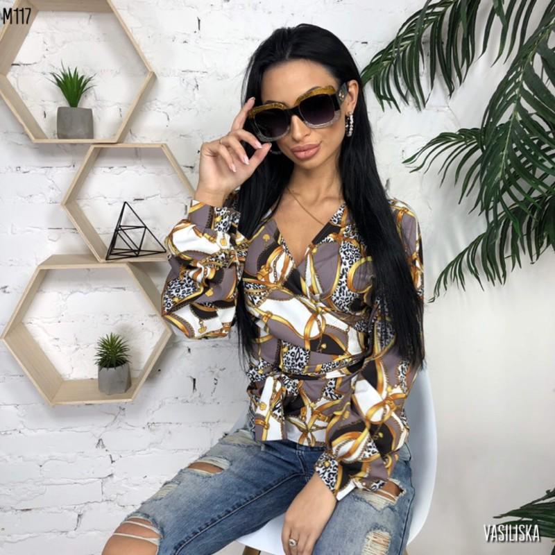 Блуза на запах с поясом принт ленты и цепи