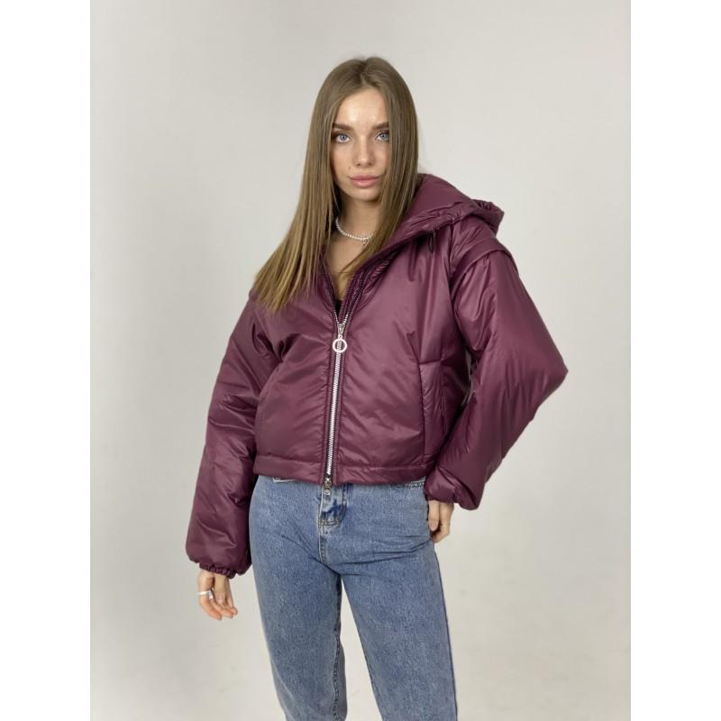 Куртка-жилетка с капюшоном сливовая