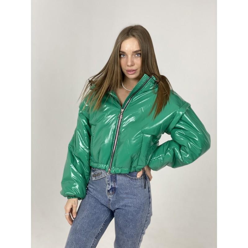 Куртка-жилетка с капюшоном изумрудная плащевка
