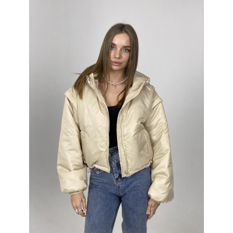 Куртка-жилетка с капюшоном бежевая