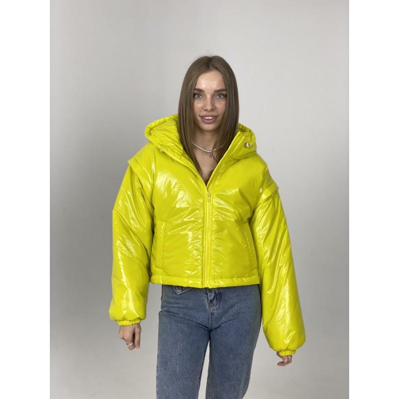 Куртка-жилетка с капюшоном лимонная