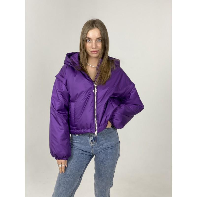 Куртка-жилетка с капюшоном фиолетовая