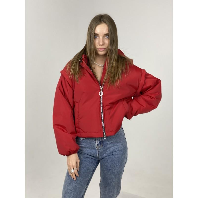 Куртка-жилетка с капюшоном красная