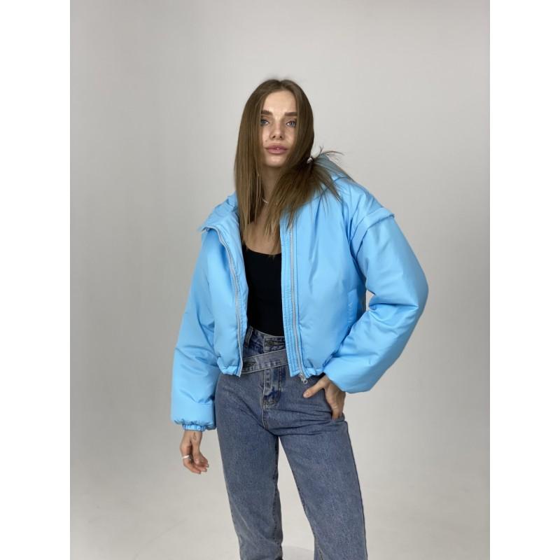 Куртка-жилетка с капюшоном голубая