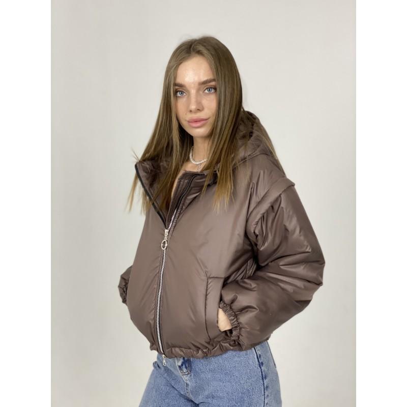 Куртка-жилетка с капюшоном шоколад