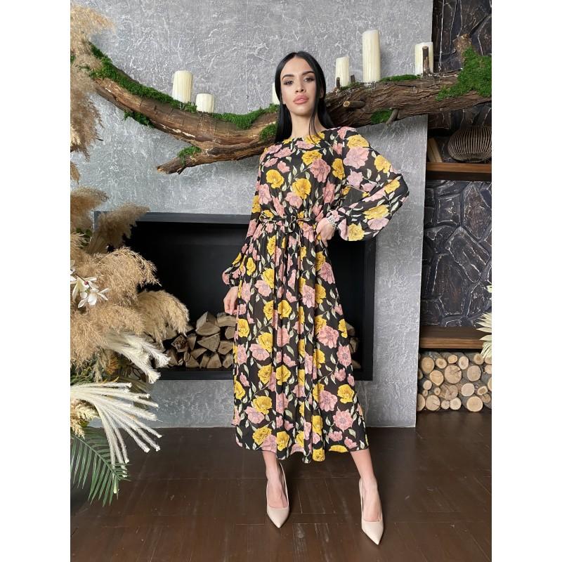 Шифоновое платье в пол черного цвета принт желтые и розовые цветы