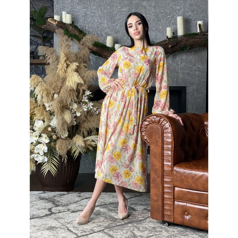 Шифоновое платье в пол бежевого цвета принт желтые и розовые цветы