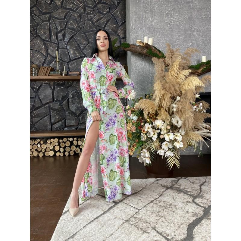 Платье-рубашка в пол на пуговицах с поясом нежно салатовое принт орхидеи и листья монстеры