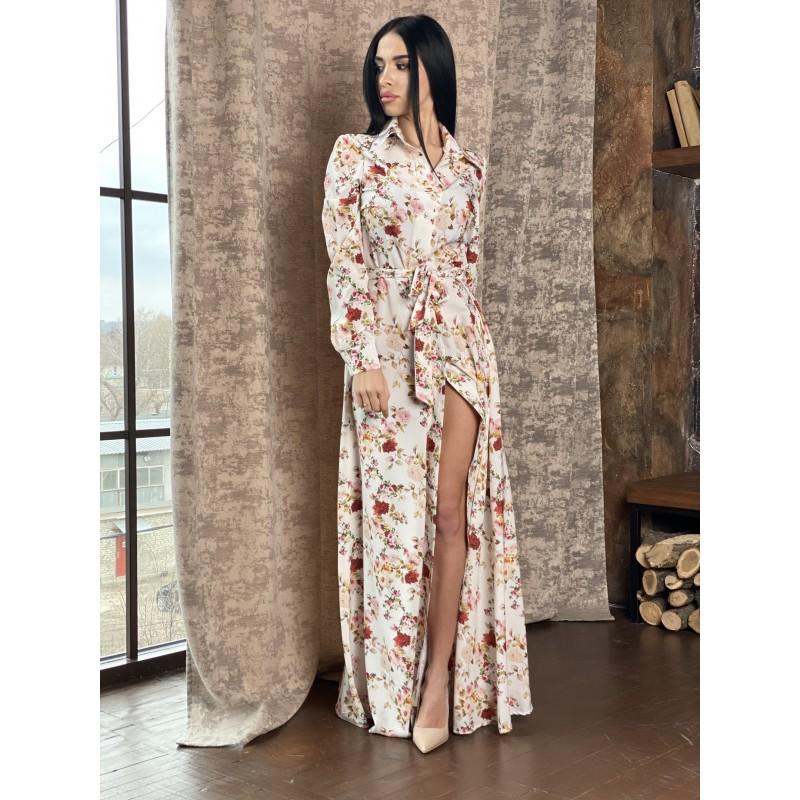 Платье-рубашка в пол на пуговицах с поясом молочного цвета принт магнолия