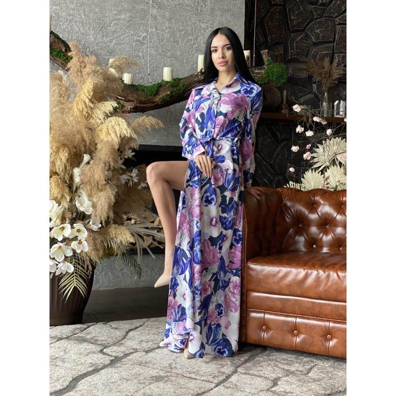 Платье-рубашка в пол на пуговицах с поясом принт большие белые розовые синие цветы