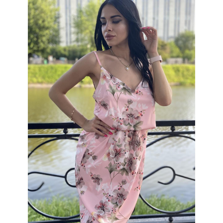 Сарафан миди отрезной по талии розового цвета принт серые цветы