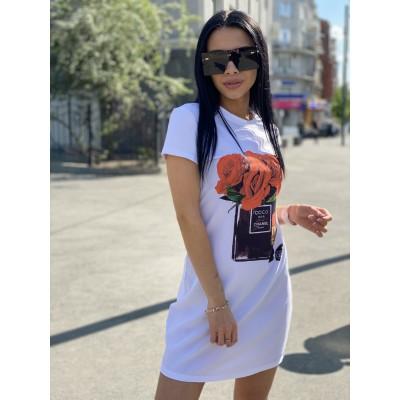 Платье-футболка Красные розы и духи белая