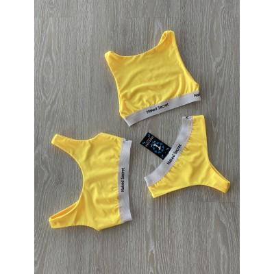 Купальник раздельный тройка (два топа + плавки) желтый