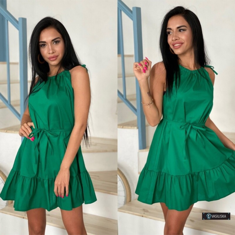 Платье-сарафан с регулируемыми бретелями изумрудный