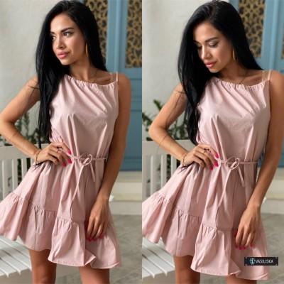 Платье-сарафан с регулируемыми бретелями фрезовый