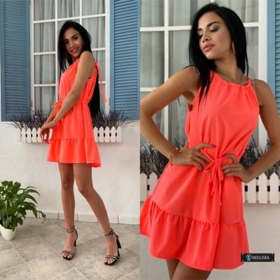 Платье-сарафан с регулируемыми бретелями коралловый