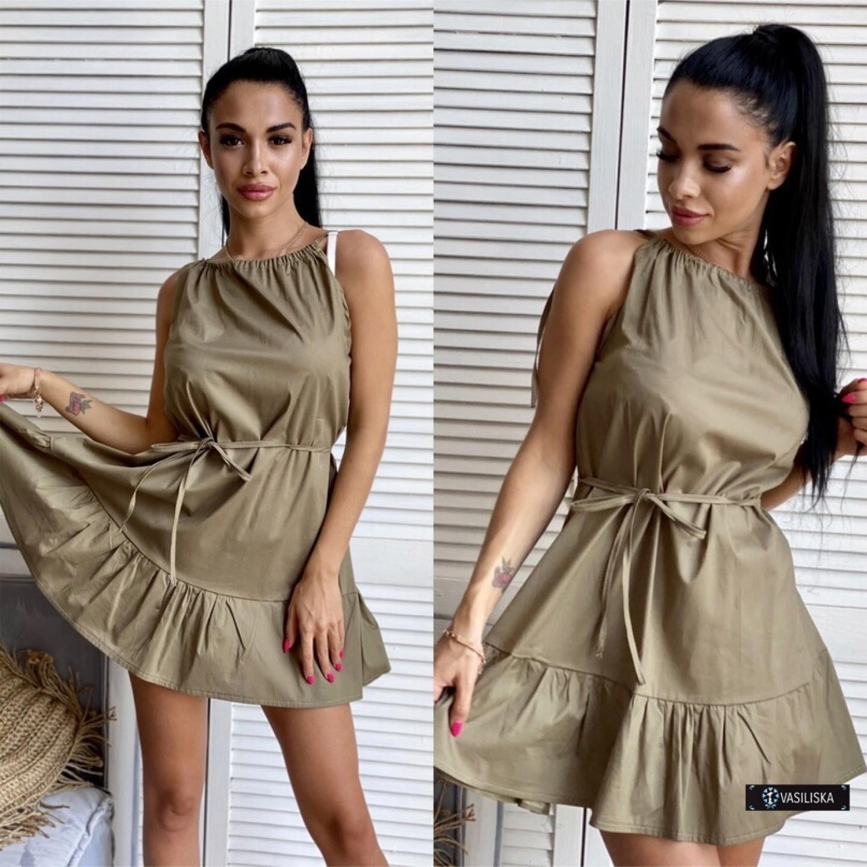 Платье-сарафан с регулируемыми бретелями хаки