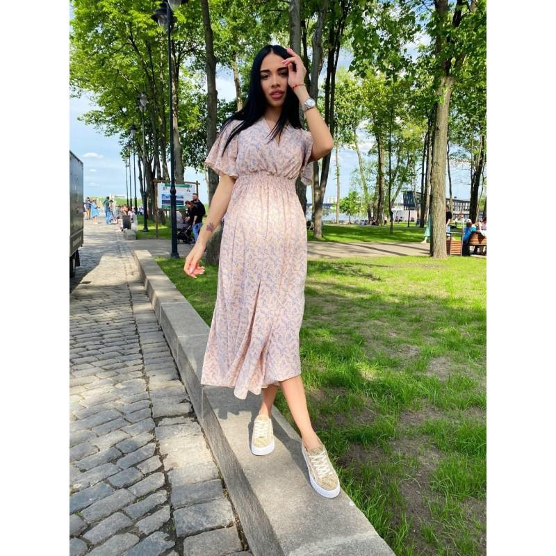 Платье миди свободного кроя по талии резинка персик принт мелкие цветы ландыша