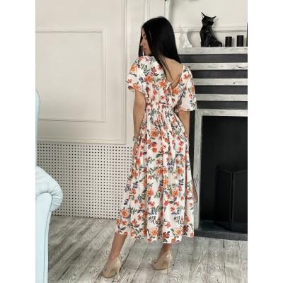 Платье миди свободного кроя по талии резинка молочный принт коралловые цветы