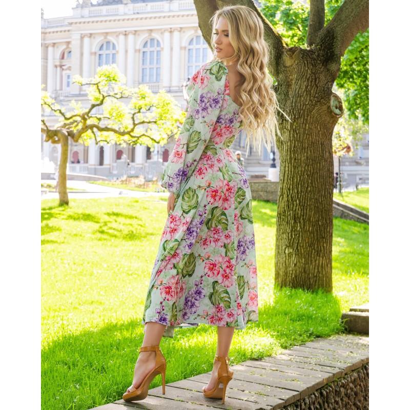 Платье миди с длинным рукавом широкий пояс имитация корсета принт орхидеи и листья монстеры