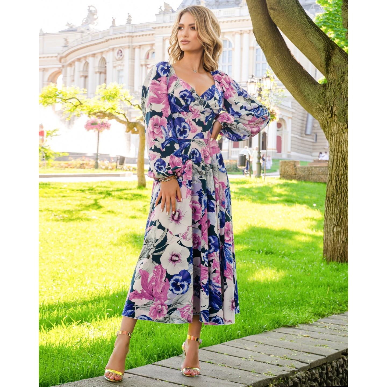 Платье миди с длинным рукавом широкий пояс имитация корсета принт большие белые/синие/розовые цветы