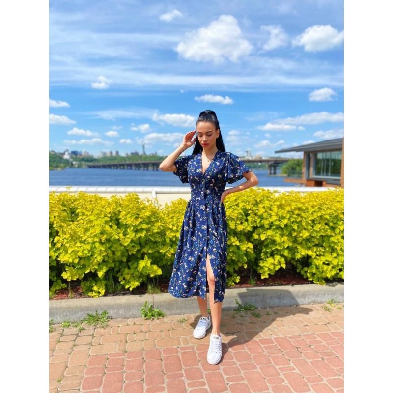 Платье миди на пуговицах с длинным рукавом широкий пояс имитация корсета принт мелкие цветы со стеблем