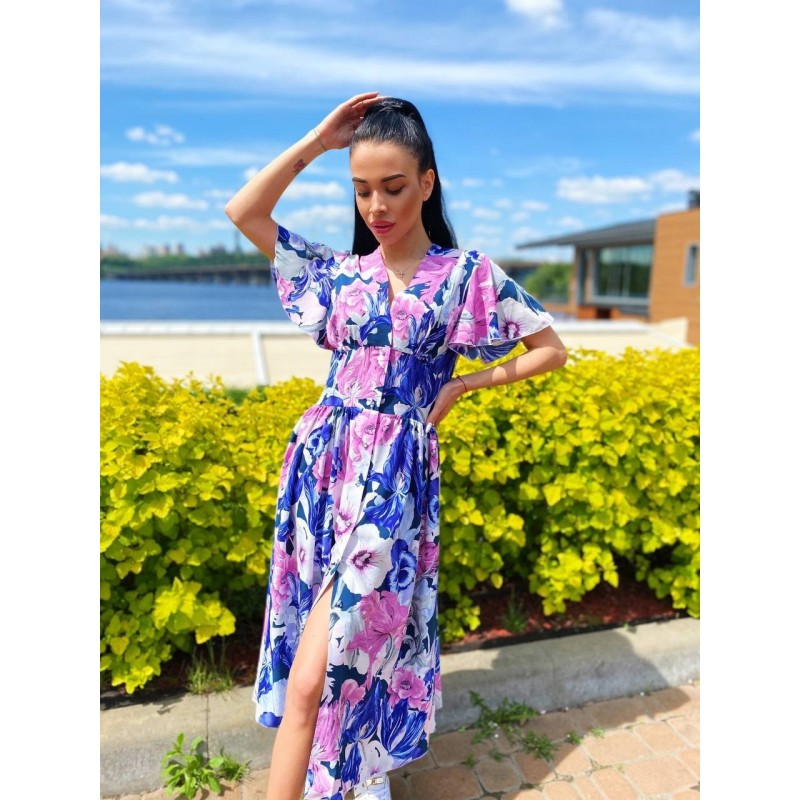 Платье миди на пуговицах с длинным рукавом широкий пояс имитация корсета принт большие белые/синие/розовые цветы