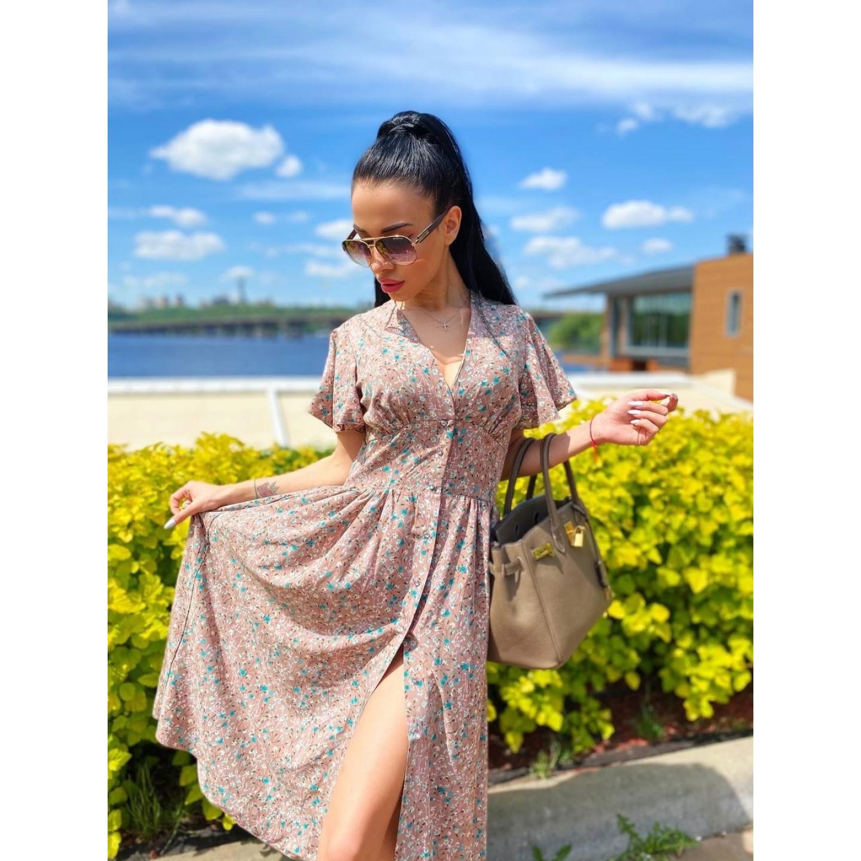 Платье миди на пуговицах с длинным рукавом широкий пояс имитация корсета принт белые и бирюзовые мелкие цветы