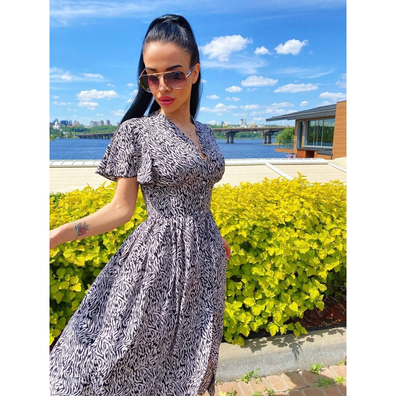 Платье миди на пуговицах с длинным рукавом широкий пояс имитация корсета принт зебра