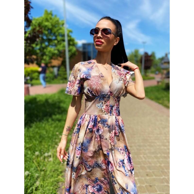 Платье миди на пуговицах с длинным рукавом широкий пояс имитация корсета принт сине-розовые цветы
