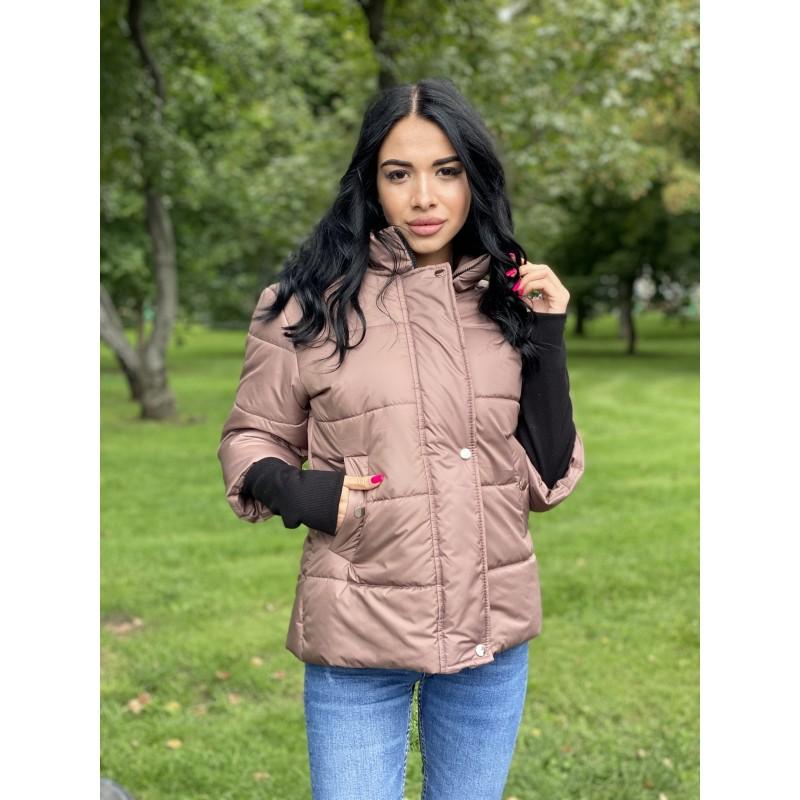 Куртка на молнии прямого фасона, широкие манжеты из довяза капучино плащевка