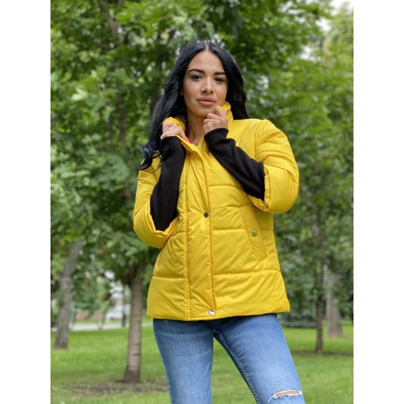 Куртка на молнии прямого фасона, широкие манжеты из довяза желтый монклер