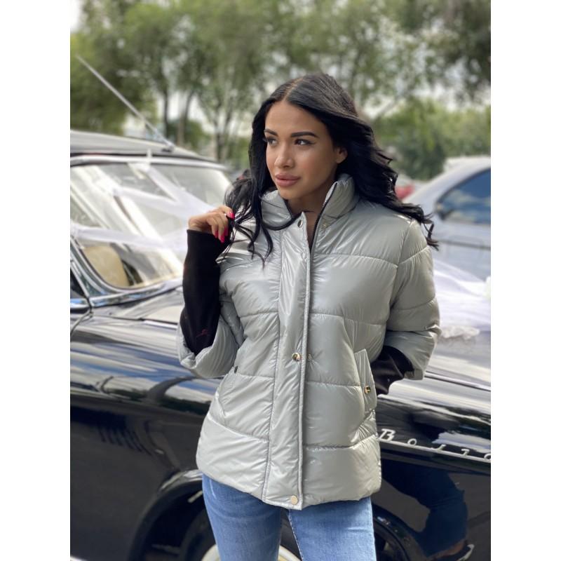 Куртка на молнии прямого фасона, широкие манжеты из довяза серый монклер