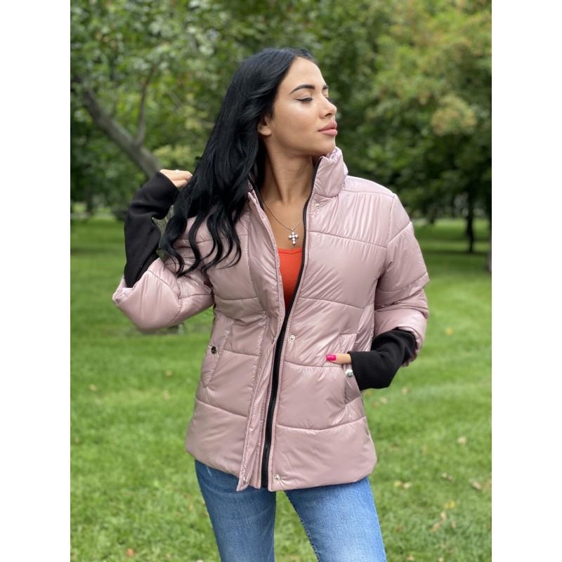 Куртка на молнии прямого фасона, широкие манжеты из довяза фрезовый монклер